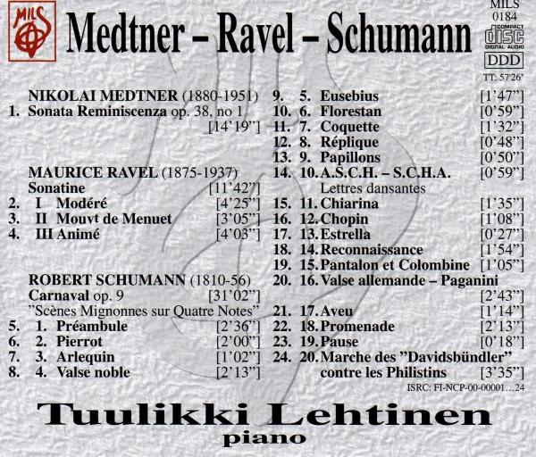 Tuulikki Lehtinen - Medtner Ravel Schumann