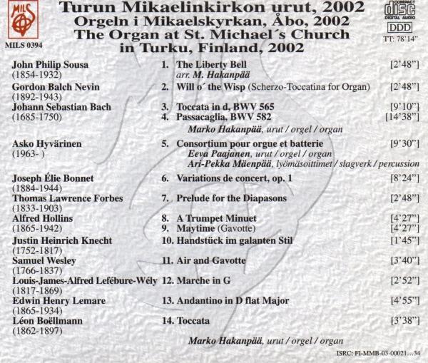 Turun Mikaelinkirkon urut, 2002