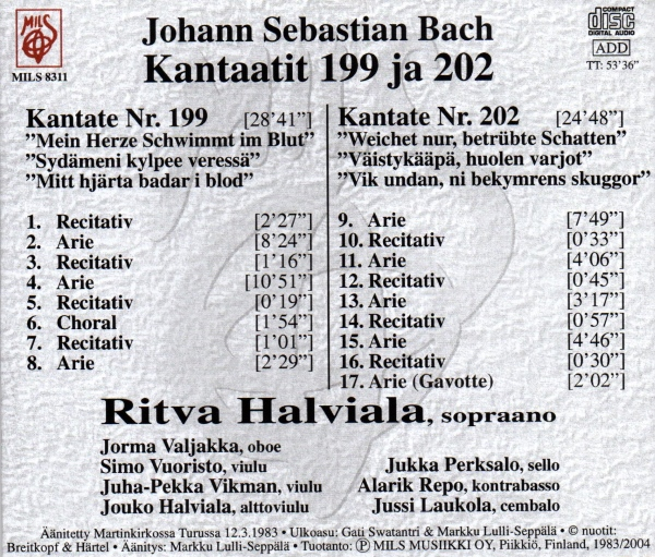 Bach Kantaatit 199 ja 202