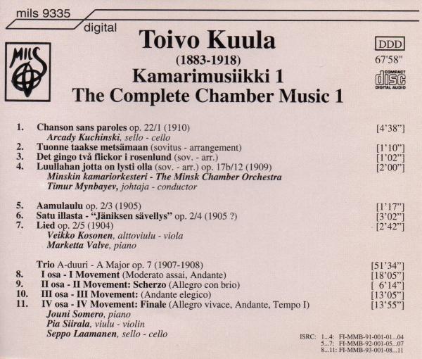 Toivo Kuula: Kamarimusiikki 1