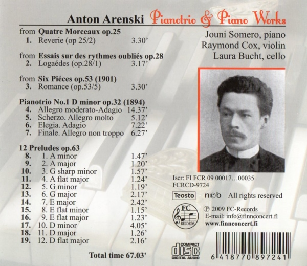 Anton Arensky - Pianotrio & Piano Works