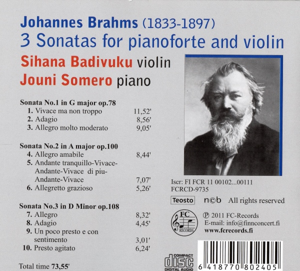 Brahms - The 3 Violin Sonatas
