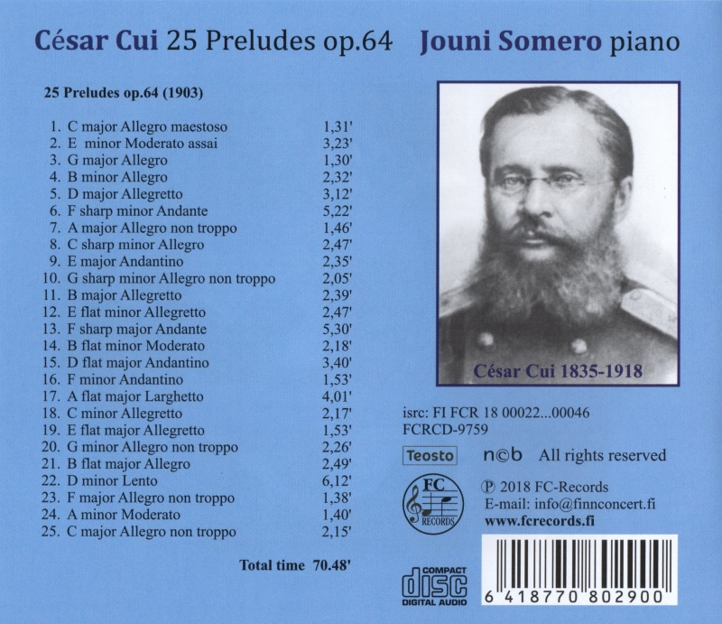César Cui 25 Preludes op. 64