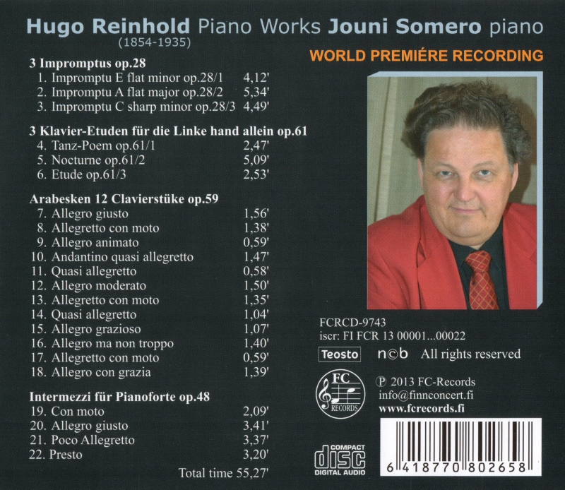 Hugo Reinhold Piano Works
