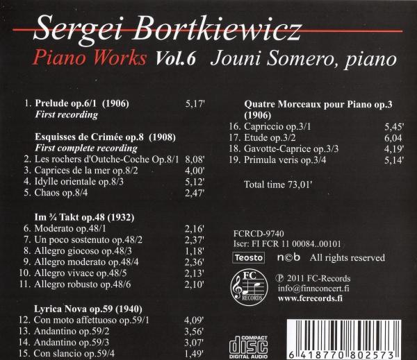 Sergei Bortkiewicz - Piano Works 6