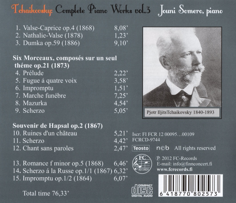 Tchaikovsky Complete Piano Works 3