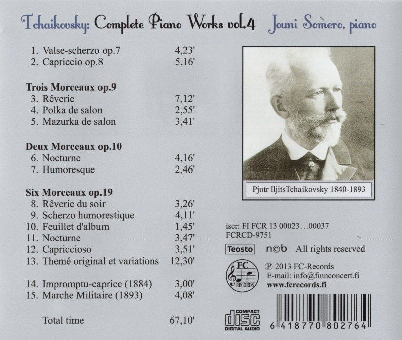 Tchaikovsky Complete Piano Works 4