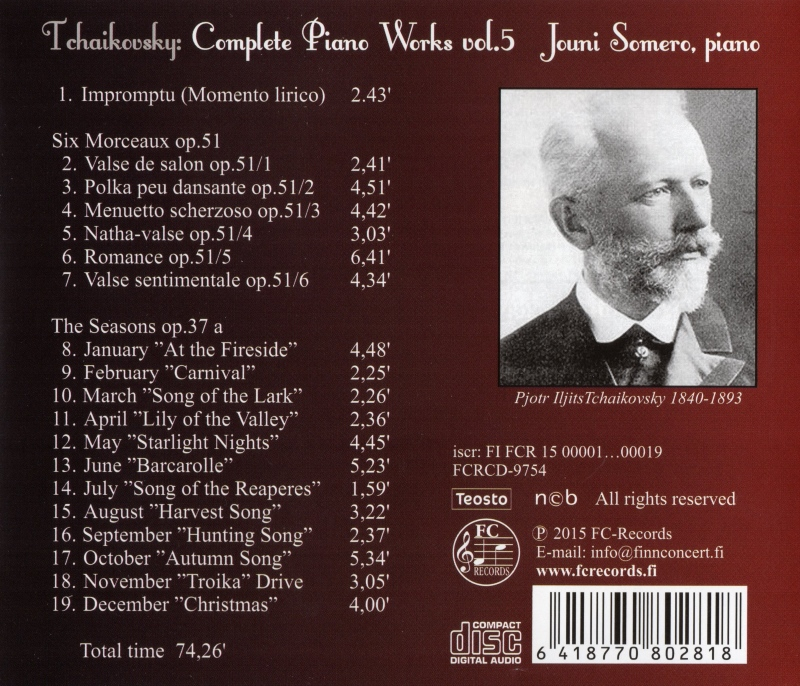 Tchaikovsky Complete Piano Works 5