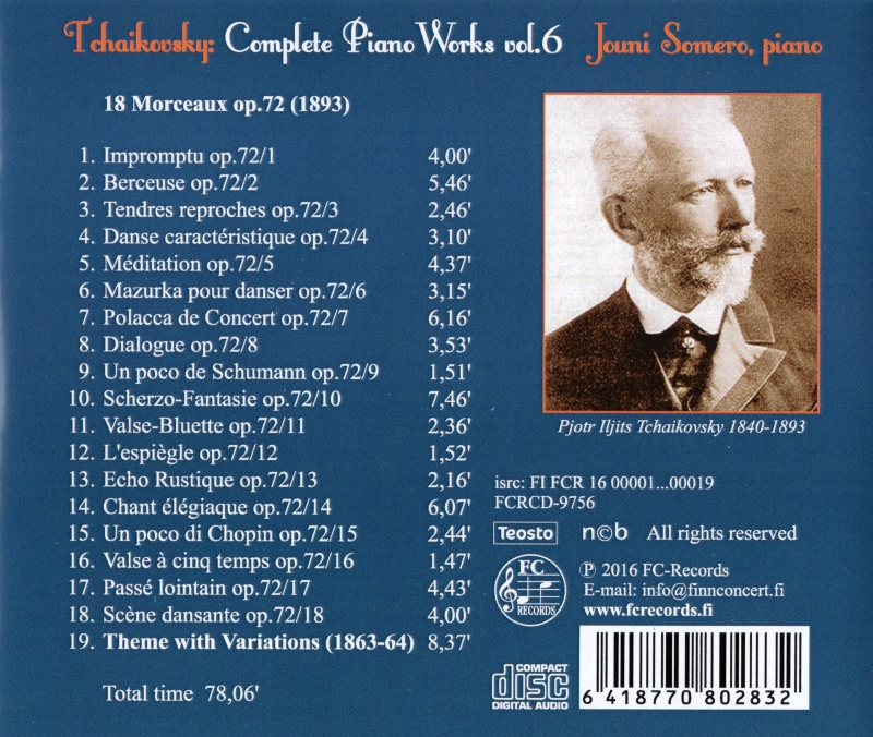 Tchaikovsky Complete Piano Works 6