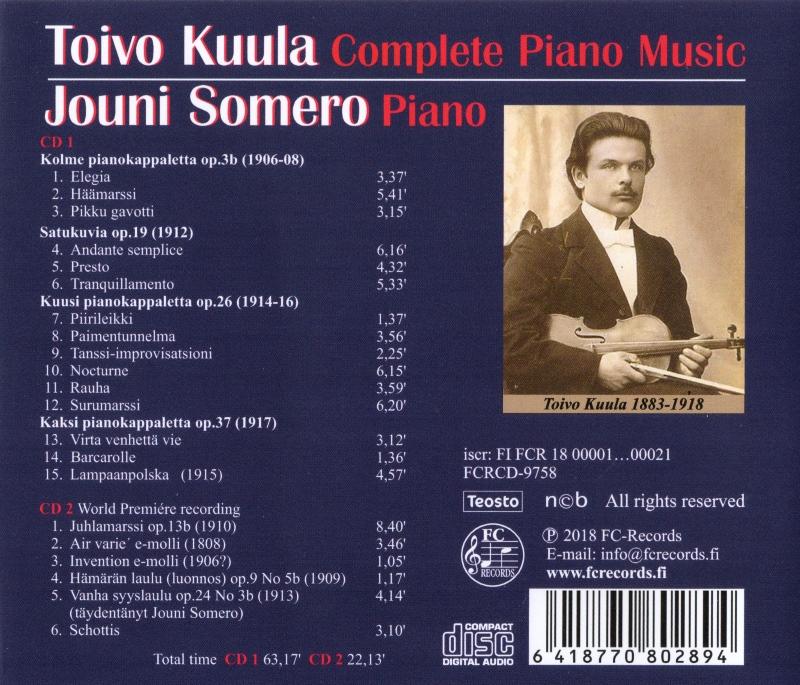Toivo Kuula Complete Piano Music